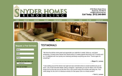 Screenshot of Testimonials Page snyderhomes.biz - Snyder Homes - captured Oct. 8, 2014