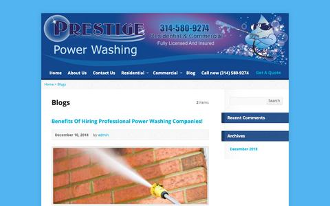 Screenshot of Blog prestigestl.com - Blogs Archives - Prestige Power Washing - captured Dec. 15, 2018