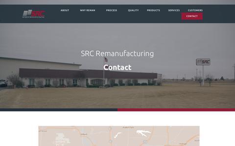 Screenshot of Contact Page srcreman.com - Contact — SRC Reman - captured July 26, 2018
