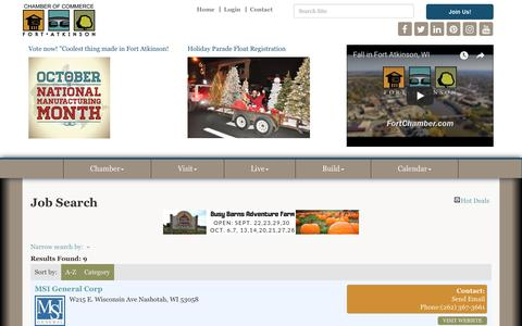 Screenshot of Jobs Page fortchamber.com - Job Search - Fort Atkinson Area Chamber of Commerce, WI - captured Oct. 10, 2018