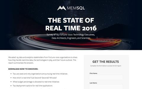 Screenshot of Landing Page memsql.com - State of Real-Time 2016 - captured Oct. 23, 2016