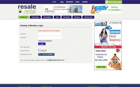 Screenshot of Login Page resalerental.com - Free Classified Sites For Online Ads - captured Oct. 26, 2014