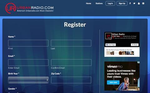 Screenshot of Signup Page urbanradio.com - Register - UrbanRadio.com - captured Feb. 22, 2016
