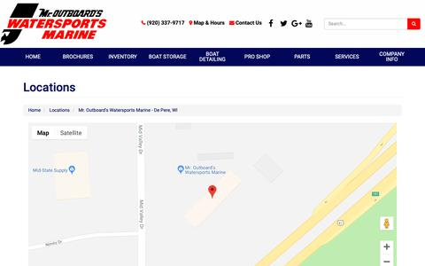 Screenshot of Locations Page mroutboards.com - Location Detail - Mr. Outboard's Watersports Marine - De Pere, WI Mr. Outboard's Watersports Marine De Pere, WI (920) 337-9717 - captured Oct. 18, 2018