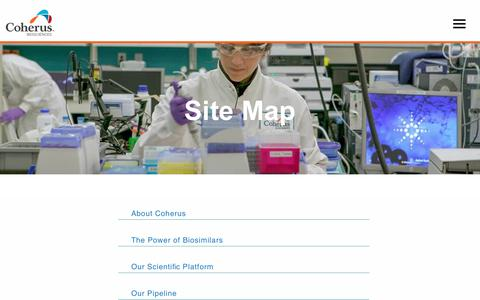 Screenshot of Site Map Page coherus.com - Site Map - Coherus BioSciences - captured Dec. 15, 2018