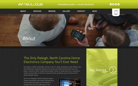 Screenshot of About Page neuwavesystems.com - Raleigh Audio Visual Consultants & Home Electronics Company - Neuwave Systems - captured Sept. 30, 2014