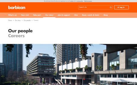 Screenshot of Jobs Page barbican.org.uk - Careers | Barbican - captured Sept. 22, 2018