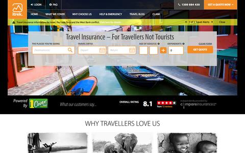 Screenshot of Home Page itrektravelinsurance.com.au - Cheap Travel Insurance Online with itrek - captured Sept. 24, 2014