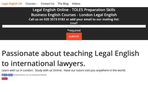 Screenshot of About Page legalenglish.co.uk - About Legal English UK - Legal English Language Training Courses - captured Nov. 22, 2018
