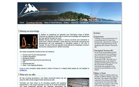 Screenshot of Services Page calidri.com - Consulting | Calidri Cartography & Consulting - captured Oct. 1, 2014