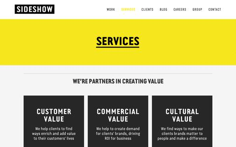 Screenshot of Services Page sideshowagency.com - Services — Sideshow - captured Nov. 15, 2018