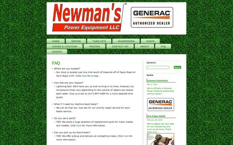 Screenshot of FAQ Page newmanspower.com - FAQ » Newman's Power Equipment LLC - Fast repair for lawnmowers, chainsaws and more! - captured Oct. 26, 2014