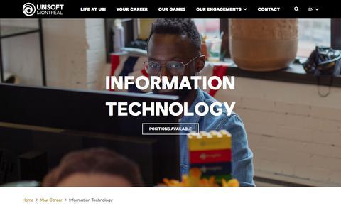 Screenshot of Jobs Page ubisoft.com - Information Technology - Ubisoft Montréal - captured Nov. 8, 2019