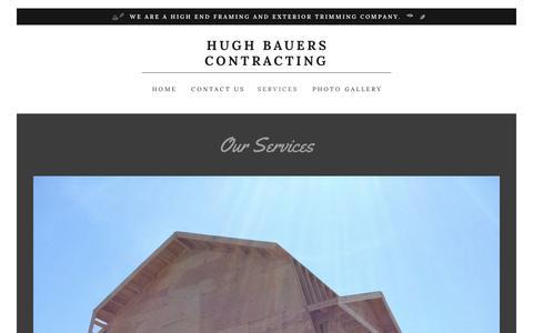 Screenshot of Services Page hughbauerscontracting.com - Hugh Bauers Contracting | Hugh Bauers Contracting - captured Dec. 8, 2018