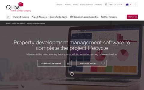 Screenshot of Developers Page qubeglobal.com - Property development software for the entire project lifecycle - captured July 6, 2018