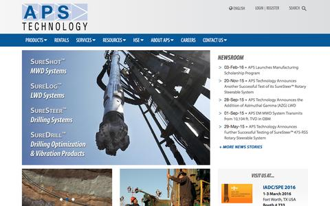Screenshot of Home Page aps-tech.com - APS Technology » MWD, LWD, Downhole Drilling Systems - captured Feb. 5, 2016