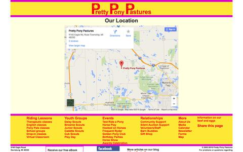 Screenshot of Maps & Directions Page prettyponypastures.org - Map | Pretty Pony Pastures - captured July 16, 2016