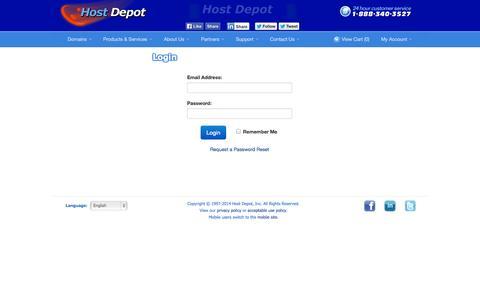 Screenshot of Login Page hostdepot.com - Host Depot - Client Area - captured Sept. 19, 2014