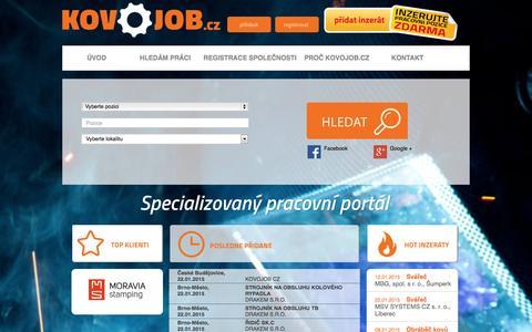 Screenshot of Home Page kovojob.cz - KOVOJOB.cz - nabídky práce a volných pracovních míst - captured Jan. 23, 2015