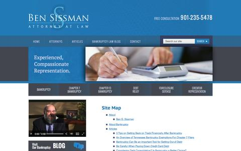 Screenshot of Site Map Page sissmanlaw.com - Site Map | Ben Sissman, Attorney at Law | Memphis Tennessee - captured Nov. 22, 2016