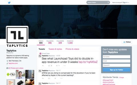 Screenshot of Twitter Page twitter.com - Taplytics (@taplytics)   Twitter - captured Oct. 22, 2014