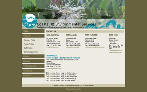 Screenshot of Contact Page cesnet.co.za - Coastal and Environmental Services - captured Oct. 3, 2014