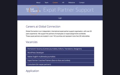 Screenshot of Jobs Page global-connection.info - Global Connection - Careers - captured Nov. 8, 2016