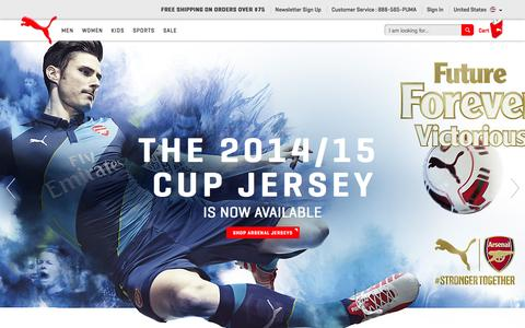 Screenshot of Home Page puma.com - Shoes, Clothing and Sportswear - PUMA® Official Online Store - captured Sept. 18, 2014