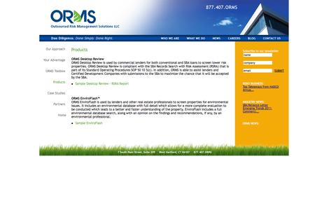 Screenshot of Products Page orms.com - ORMS: Environmental Risk Management/Due Diligence/Consulting - captured Oct. 6, 2014