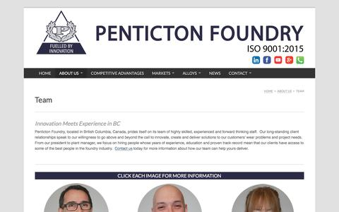 Screenshot of Team Page pentictonfoundry.com - The Innovative Team of Penticton Foundry, a BC Foundry. - captured July 17, 2018