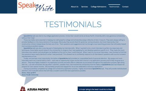 Screenshot of Testimonials Page speakwritellc.com - speakwritellc | Testimonials - captured Dec. 1, 2016