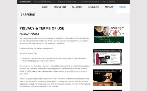 Screenshot of Privacy Page caffeinemarketingservices.com - Contact, Privacy, and Terms of Use - Caffeine Marketing Services - captured Sept. 19, 2014