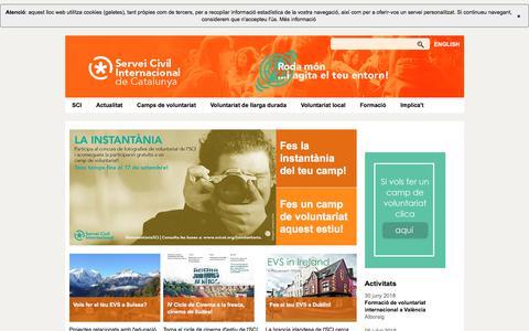 Screenshot of Home Page sci-cat.org - Servei Civil Internacional de Catalunya - captured June 28, 2018