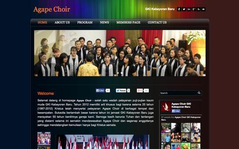 Screenshot of Home Page agape-choir.org - Agape Choir - Home - captured Oct. 1, 2014