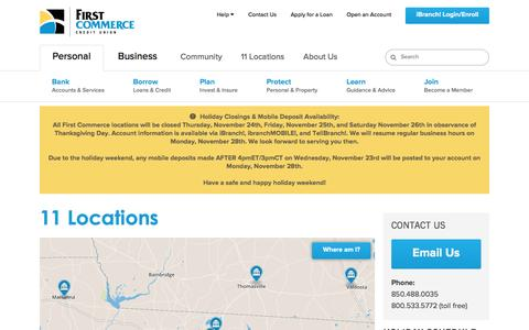 Screenshot of Locations Page firstcommercecu.org - North Florida Credit Union, South Georgia Credit Union | First Commerce Credit Union - captured Nov. 25, 2016