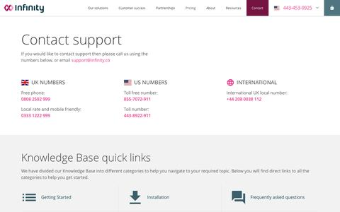 Screenshot of Support Page infinity.co - Contact support - captured July 30, 2019