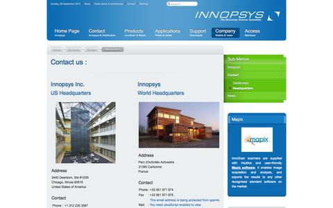 Screenshot of Contact Page innopsys.com - Contact us - Innopsys - captured Sept. 30, 2014