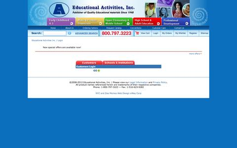Screenshot of Login Page edact.com - Educational Activities Inc.  :: Login - captured Oct. 2, 2014