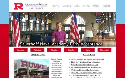 Screenshot of Home Page rummelraiders.com - Archbishop Rummel High School - Home - captured June 24, 2016