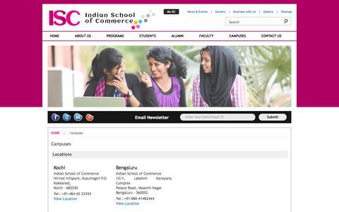 Screenshot of Locations Page isc.edu.in - ISC - Indian School of Commerce - captured Oct. 4, 2014