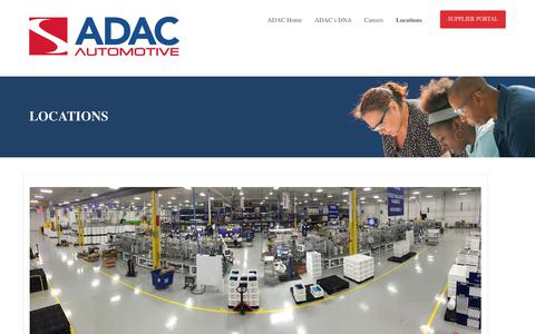 Screenshot of Locations Page adacplastics.com - ADAC Locations - captured Oct. 6, 2017