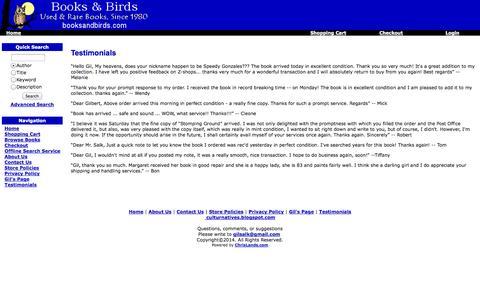 Screenshot of Testimonials Page booksandbirds.com - Books & Birds - Rare, used, out-of-print books - captured Oct. 5, 2014