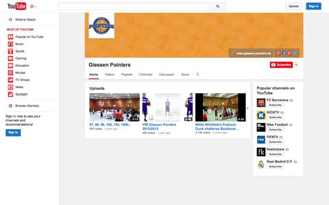 Screenshot of YouTube Page youtube.com - Giessen Pointers  - YouTube - captured Oct. 22, 2014