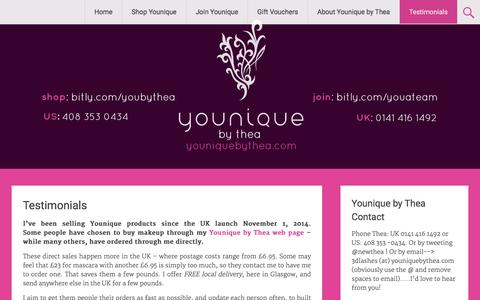 Screenshot of Testimonials Page glatitude.co.uk - Testimonials for Younique by Thea - captured Dec. 9, 2015
