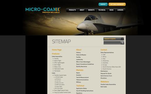 Screenshot of Site Map Page micro-coax.com - Sitemap - captured Oct. 27, 2014
