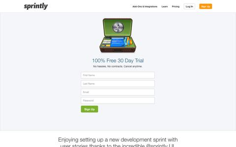 Screenshot of Signup Page sprint.ly - Make beautiful products - sprint.ly - captured Nov. 5, 2014