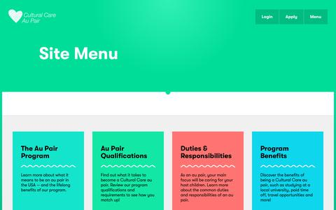 Screenshot of Menu Page culturalcare.com.au - Site Menu | Cultural Care - captured Feb. 9, 2018