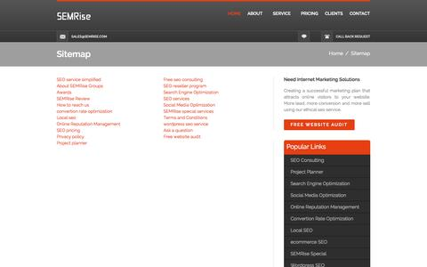 Screenshot of Site Map Page semrise.com - Guide to our website - SEMRise - captured Sept. 30, 2014