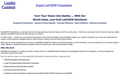 Screenshot of Home Page labviewconsultants.com - Expert LabVIEW Consultants - hire a consultant! - captured Sept. 27, 2014
