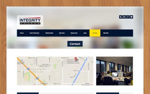 Screenshot of Contact Page intescrow.com - Integrity Escrow » Contact - captured Oct. 6, 2014